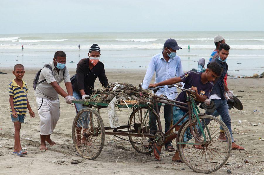 Des bénévoles de Plastik Bank Bangladesh ont retrouvé et enterré une vingtaine detortuesolivâtres.