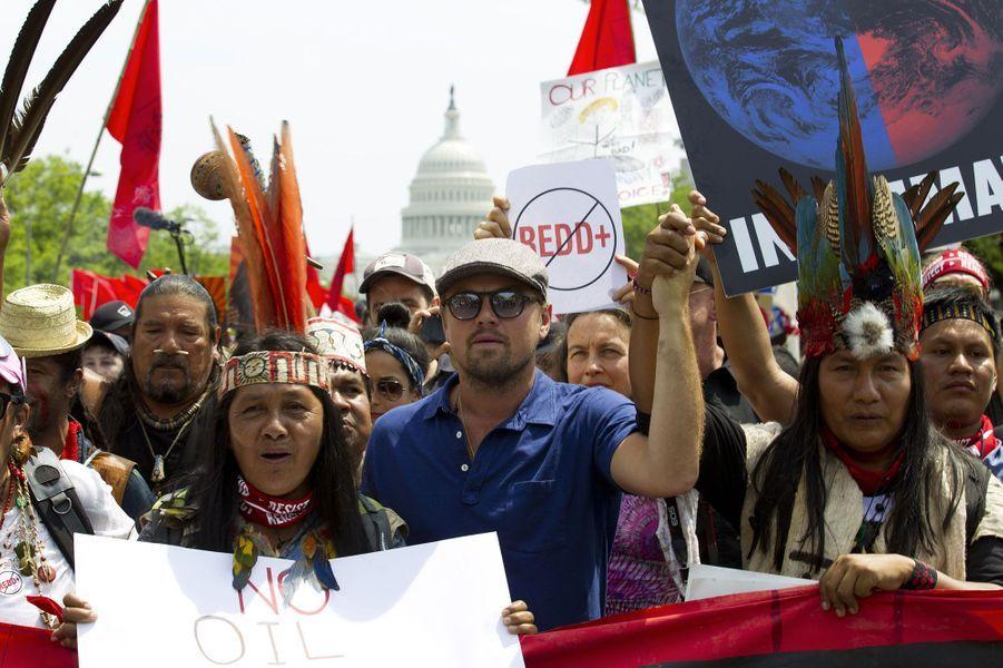 """Leonardo DiCaprio à la """"Marche pour le Climat""""."""