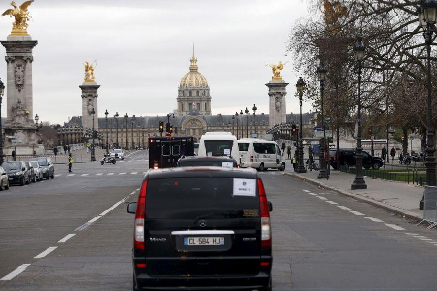 Le cortège de Barack Obama dans les rues de Paris