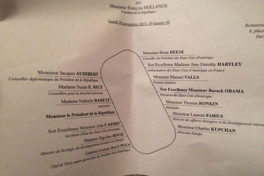 Le plan de table du dîner d'Etat