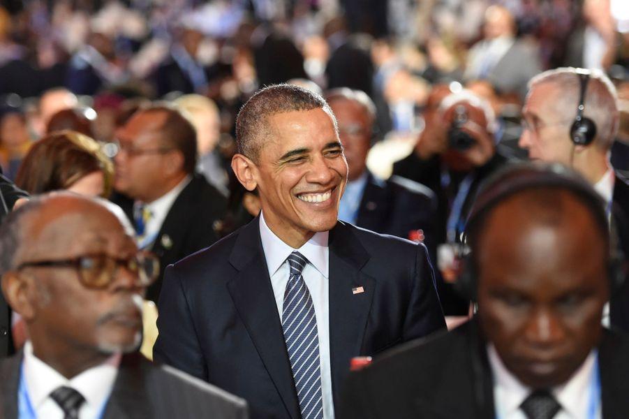 Le président des Etats-Unis Barack Obama tout sourire