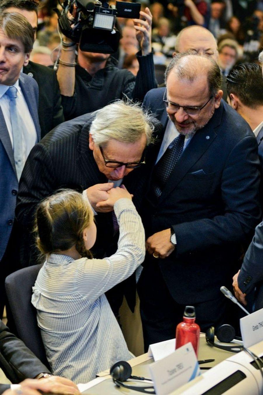 Avec Jean-Claude Juncker, président de la Commission européenne, à Bruxelles, le 21 janvier.