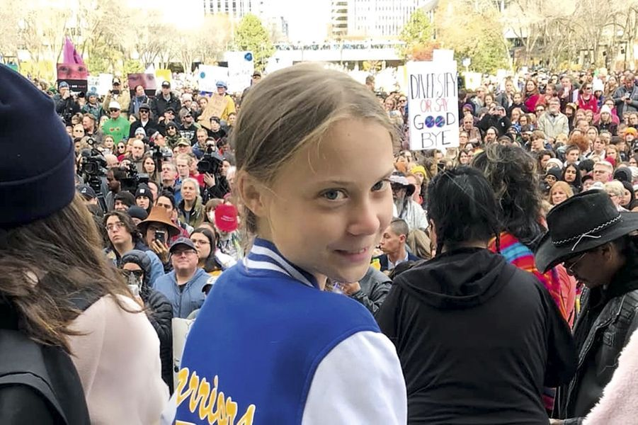 Manifestation à Edmonton, au Canada, le 18 octobre 2019, lors de sa tournée nord-américaine.