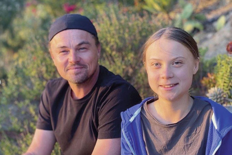 Avec Leonardo DiCaprio à Los Angeles en novembre. « C'est un honneur, dit-il, de rencontrer Greta. »