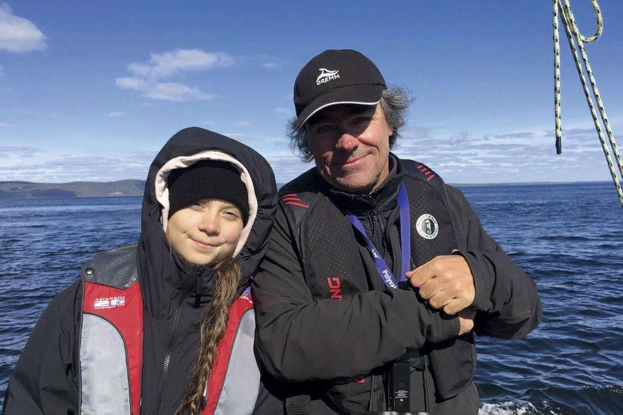 Au Québec sur le Saint-Laurent avec le biologiste marin Robert Michaud, le 30 septembre.