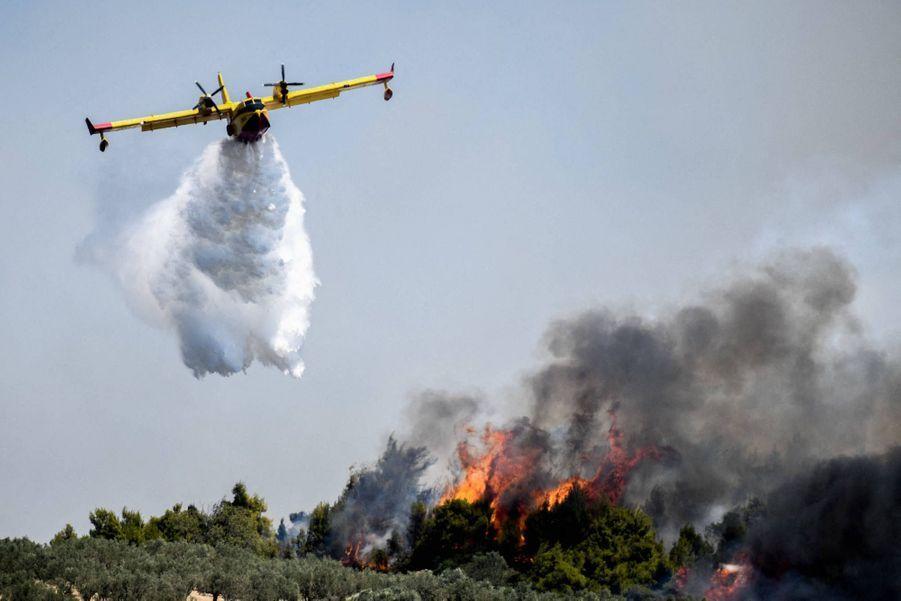 A quelque 80 kilomètres d'Athènes, dans le Péloponnèse, un incendie a donné du fil à retordre à plus de 250 pompiers. Des maisons ont été détruites mais aucun blessé n'a été déploré.