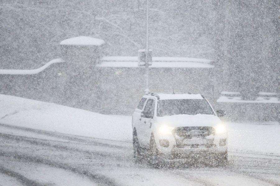 Tempête de neige en Angleterre.