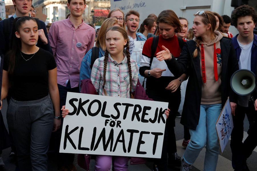 L'activiste suédoise Greta Thunberg à Paris le 22 février pour manifester avec les élèves parisiens.