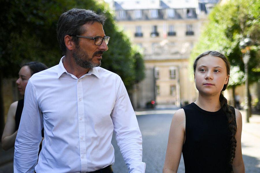 Greta Thunberg et Matthieu Orphelinà l'Assemblée nationale, le 23 juillet 2019.