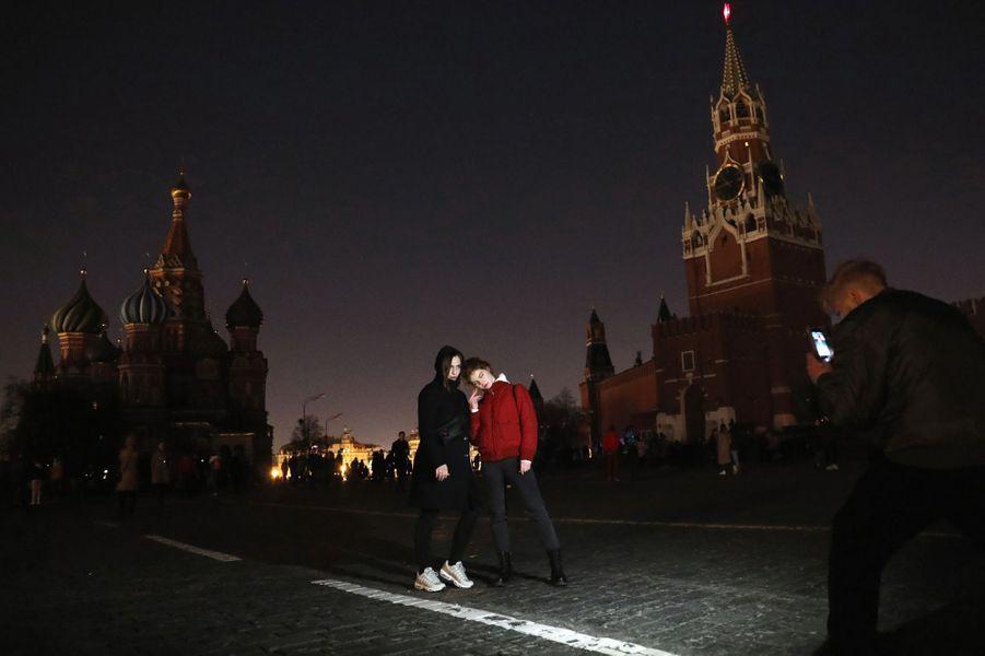 La Place rouge à Moscou dans le noir.