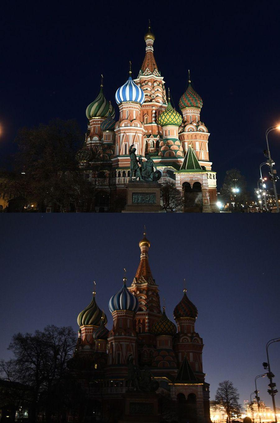 Avant/ Après avec laCathédrale Saint-Basile-le-Bienheureux de Moscou.