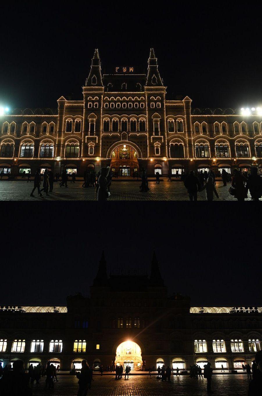 La façade du Gum , sur la Place Rouge à Moscou.