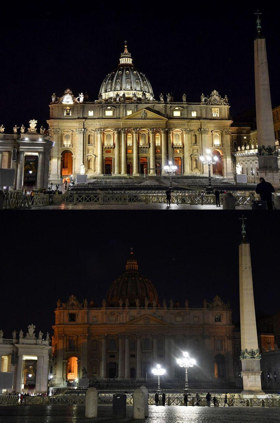 Avant/ après à la basilique Saint-Pierre du Vatican.
