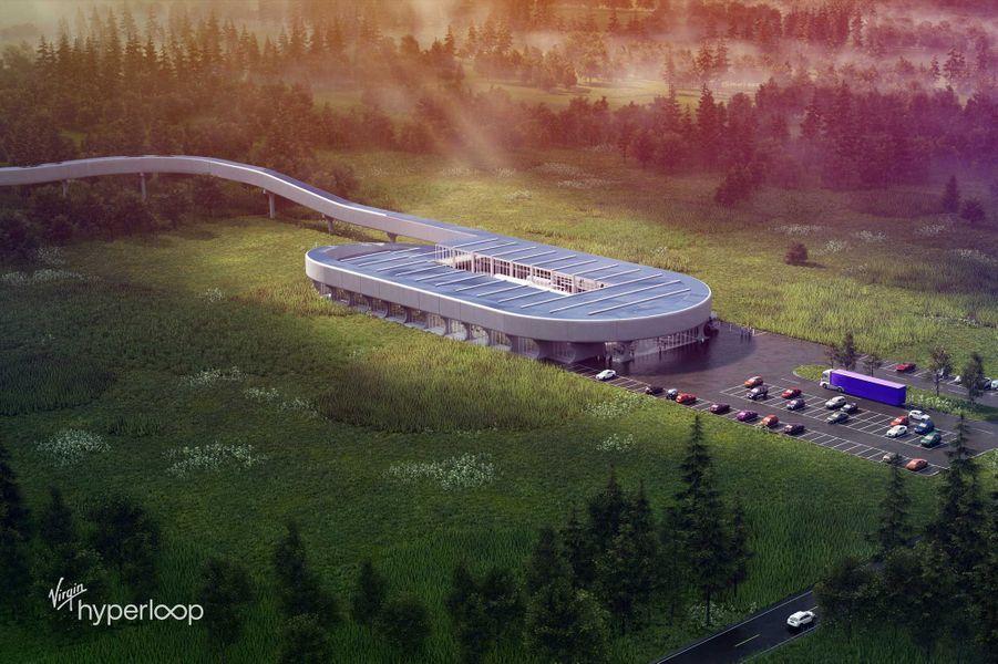 Vue d'artiste du train Virgin Hyperloop.