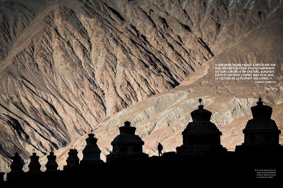 Le stûpa bouddhiste de Diskit, vallée de la Nubra, au nord de Leh, Ladakh.