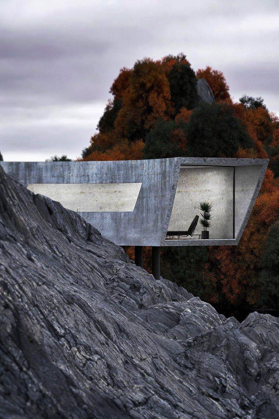"""L'architecte iranien Reza Mohtashami a imaginé un repaire en béton qui se fond parfaitement dans la nature. Son projet s'appelle """"Concrete House""""."""