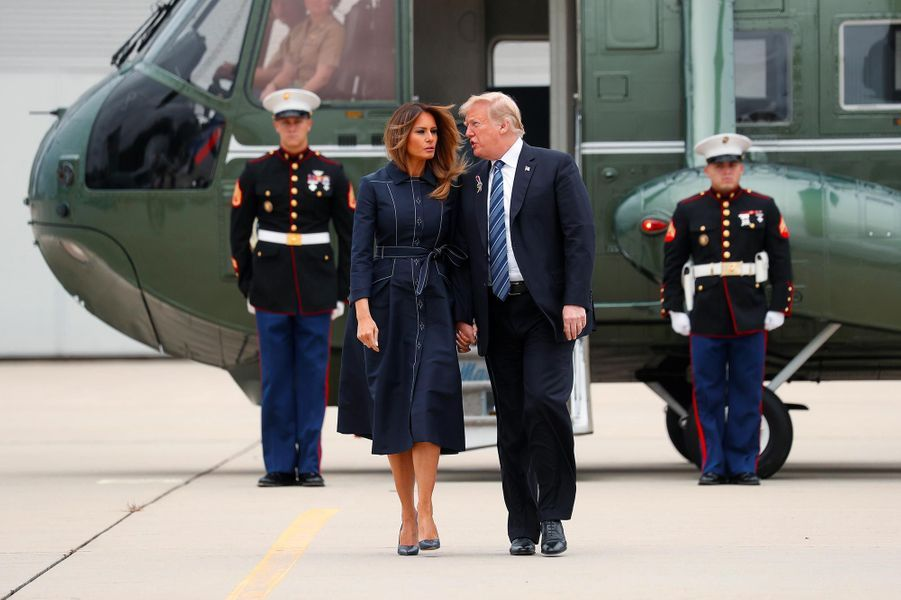 Donald et Melania Trump arrivant en Pennsylvanie, le 11 septembre 2018.