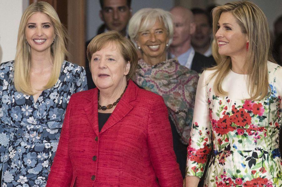 Ivanka Trump, Angela Merkel et la reine Maxima des Pays-Bas au sommet Women 20 à Berlin, le 25 avril 2017.