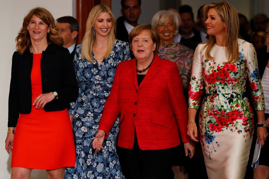 Stephanie Bschorr,Ivanka Trump, Angela Merkel et la reine Maxima des Pays-Bas au sommet Women 20 à Berlin, le 25 avril 2017.
