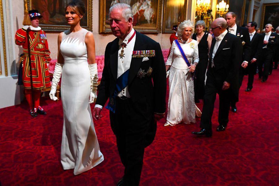 Melania Trump et le prince Charles àBuckingham Palace, le 3 juin 2019.
