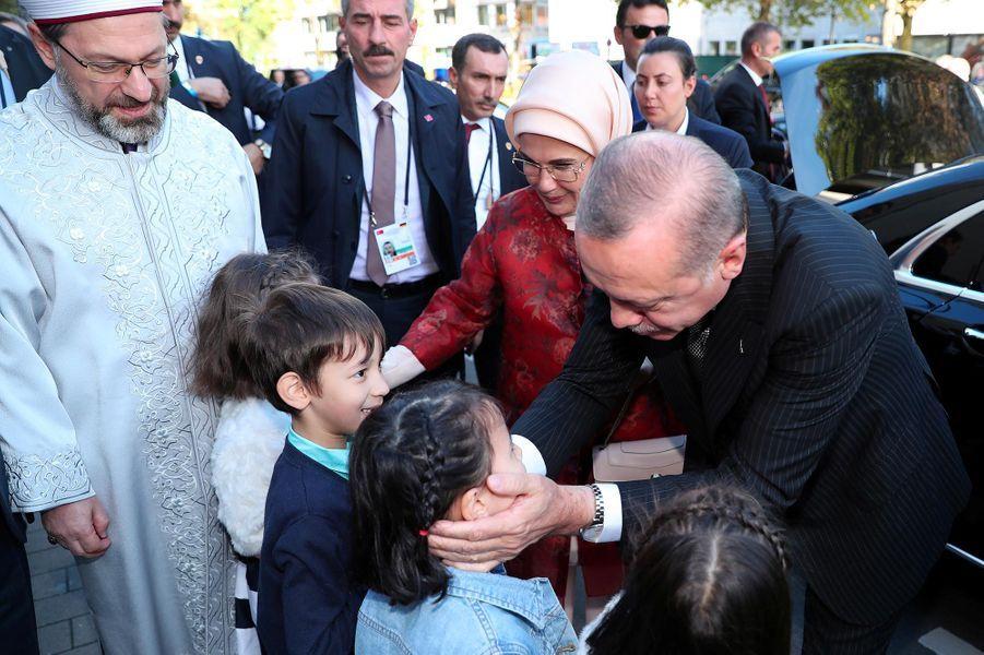 Recep Tayyip Erdogan a présidél'inauguration d'une des plus grandes mosquées d'Europe à Cologne, le 29 septembre 2018.