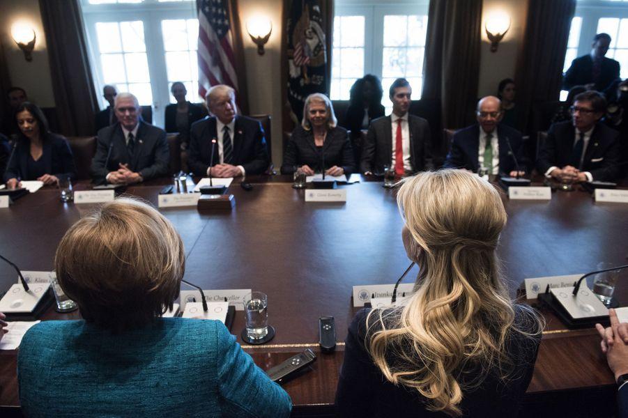 Angela Merkel, Donald Trump et Ivanka Trump à la Maison Blanche, le 17 mars 2017.