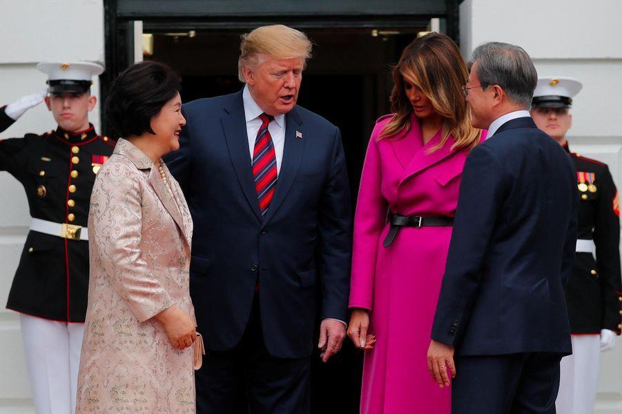 Donald et Melania Trump ont reçu Moon Jae-in etKim Jung-sook à la Maison-Blanche, le 11 avril 2019.