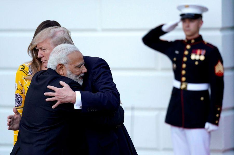 Narendra Modi,Melania et Donald Trump à la Maison Blanche, le 26 juin 2017.
