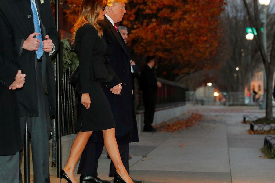 Donald et Melania Trump quittant Blair House, le 4 décembre 2018.