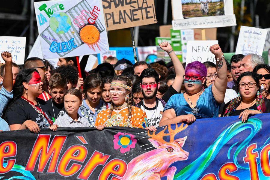 Greta Thunberg lors de la manifestation à Montréal, au Canada, le 27 septembre 2019.