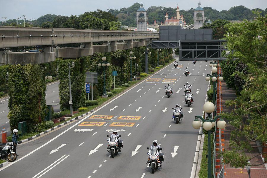 Le cortège de Kim Jong-un quittant Sentosa, le 12 juin 2018.