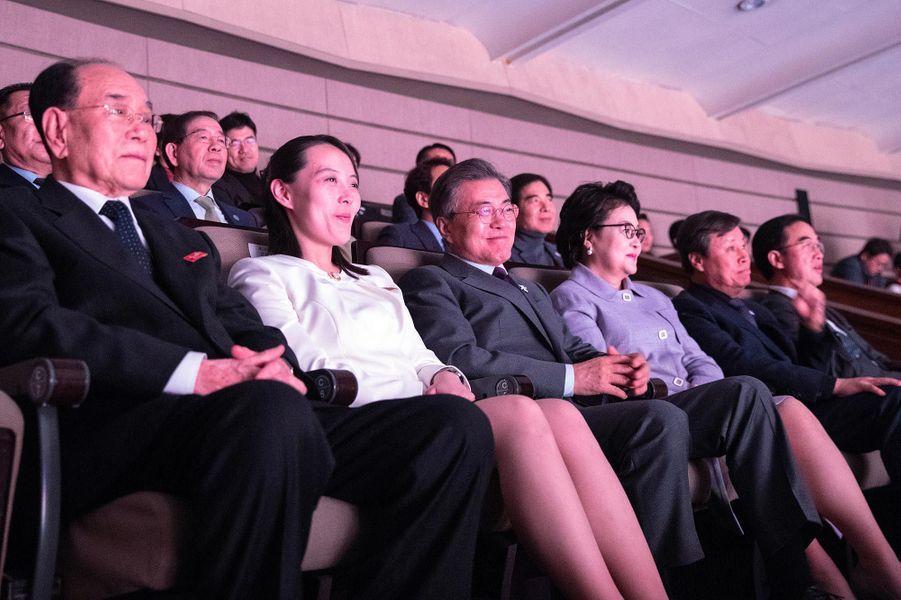 Kim Yo-jong et le président sud-coréen Moon Jae-in à un concert à Séoul, le 11 février 2018.
