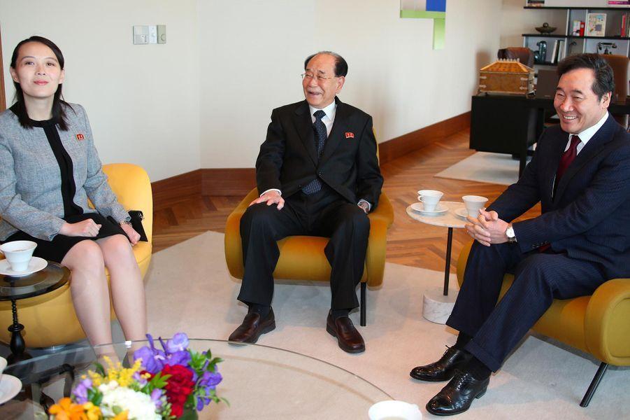 Kim Yo-jong et le Premier ministre sud-coréenLee Nak-yeonà Séoul, le 11 février 2018.
