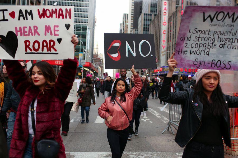 A la Women's March (la «Marche des Femmes») de New York, le 20 janvier 2018.