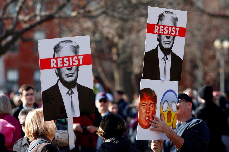 A la Women's March (la «Marche des Femmes») de Washington, le 20 janvier 2018.