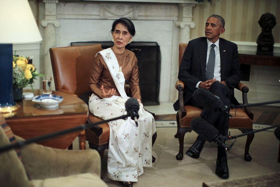 Aung San Suu Kyi et Barack Obama à la Maison Blanche, le 14 septembre 2016.