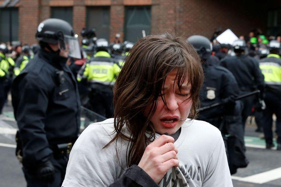Au moins 95 personnes ont été arrêtées à Washington lors de manifestations anti-Donald Trump, le 20 janvier 2017.