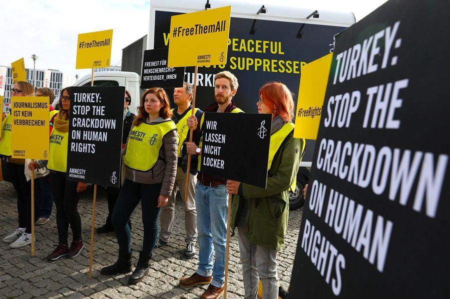 Manifestation en soutien aux journalistes emprisonnés en Turquie, à Berlin, le 28 septembre 2018.