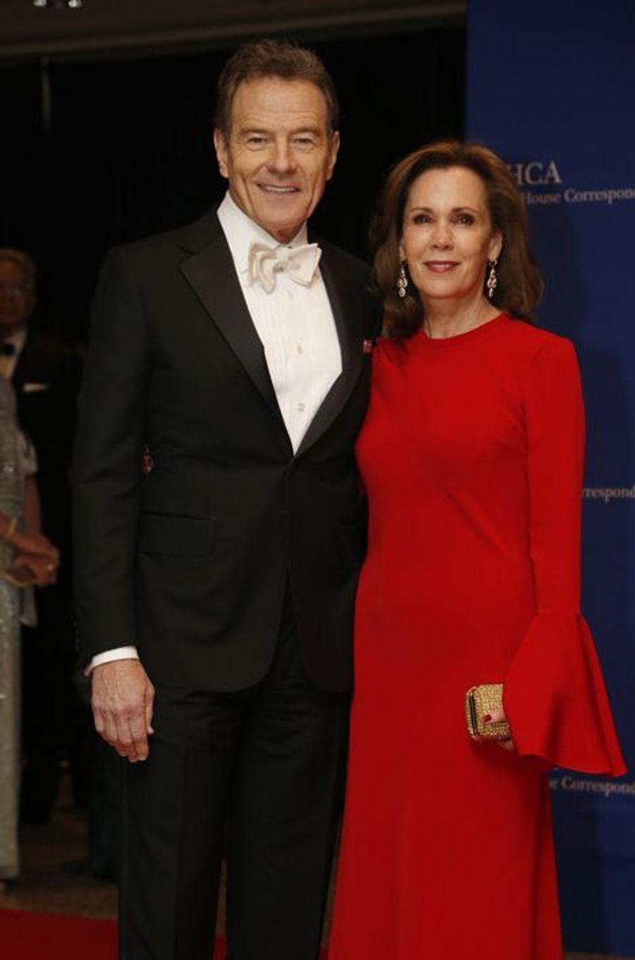 Bryan Cranston et son épouse au dîner des Correspondants à la Maison Blanche, le 30 avril 2016 à Washington.