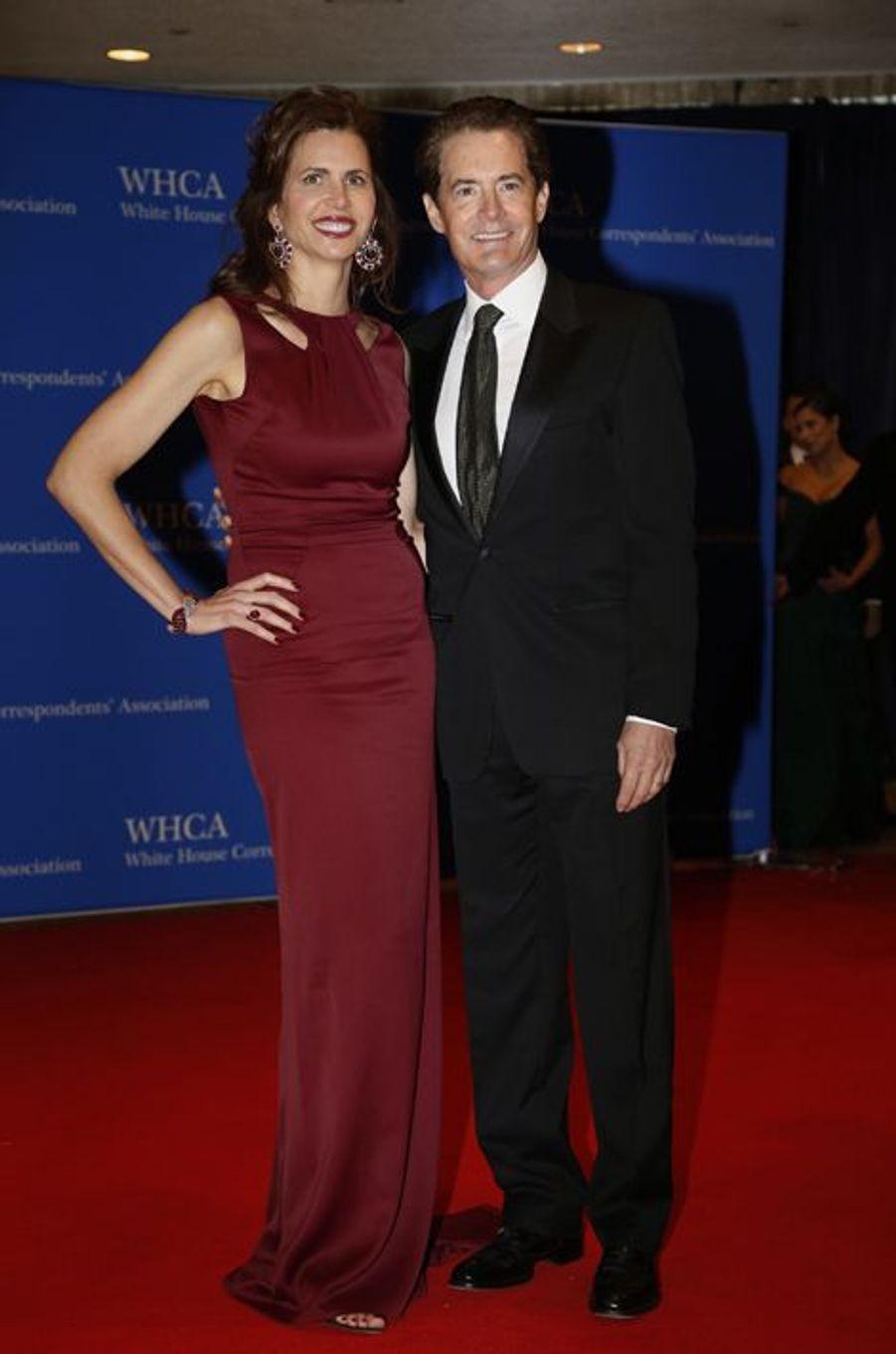 Kyle MacLachlan et son épouse au dîner des Correspondants à la Maison Blanche, le 30 avril 2016 à Washington.