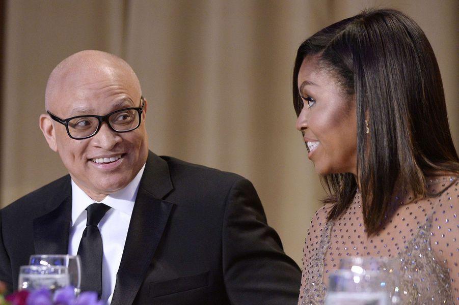 Larry Wilmore et Michelle Obama au dîner des Correspondants à la Maison Blanche, le 30 avril 2016 à Washington.