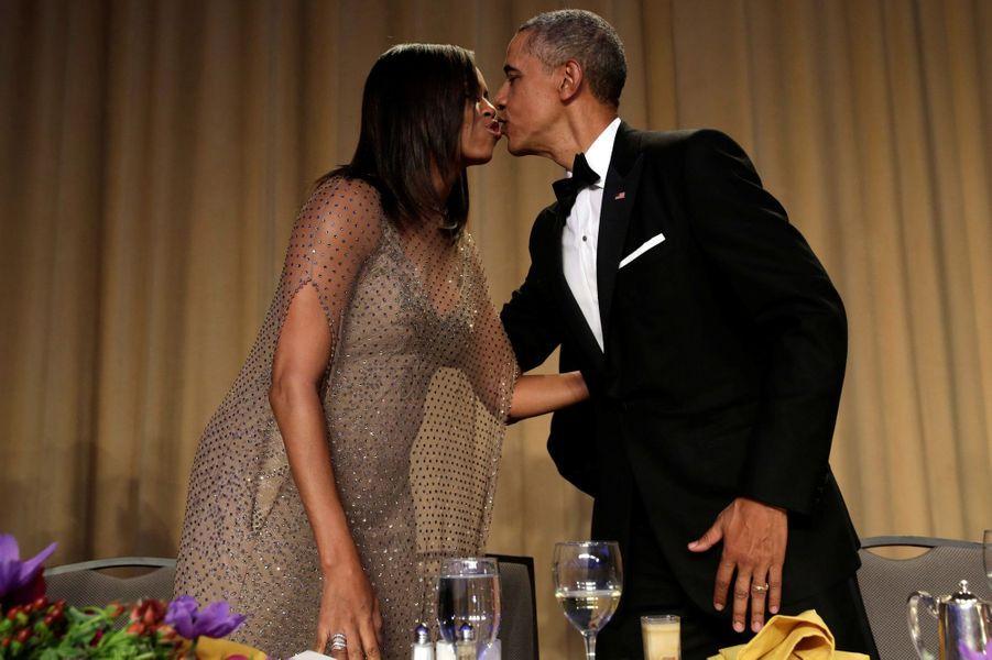 Michelle et Barack Obama au dîner des Correspondants à la Maison Blanche, le 30 avril 2016 à Washington.