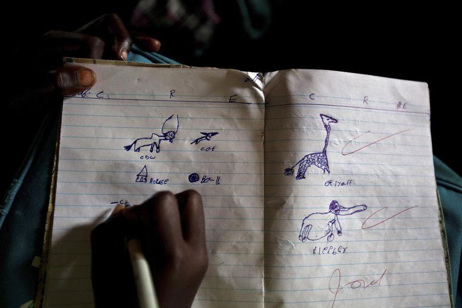 Dessins d'enfant dans un cahier d'école (juin 2012)