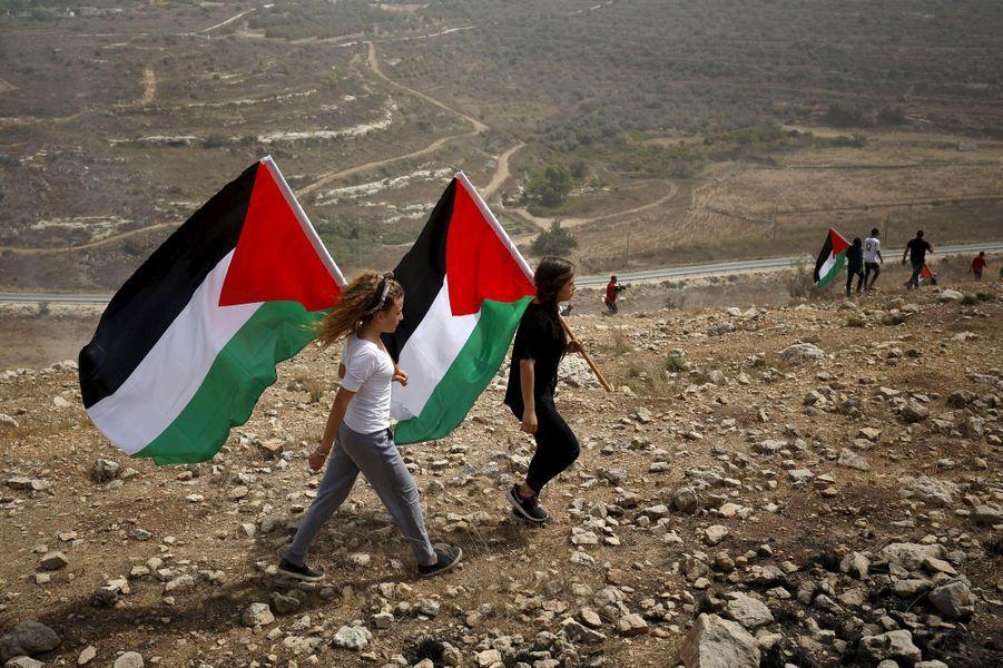 En septembre 2015, les habitants du village célèbrent l'autorisation du drapeau palestinien à l'ONU.