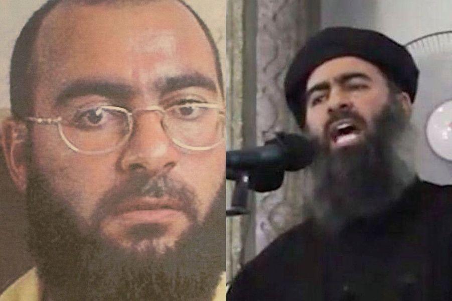 Deux visages d'Al-Baghdadi. En 2004, pendant sa détention au camp Bucca de Umm Qsar (Irak), où il fait son éducation politique. Dix ans plus tard, le 29 juin 2014, il s'autoproclame calife de l'Etat islamique à la mosquée Al-Nouri de Mossoul.