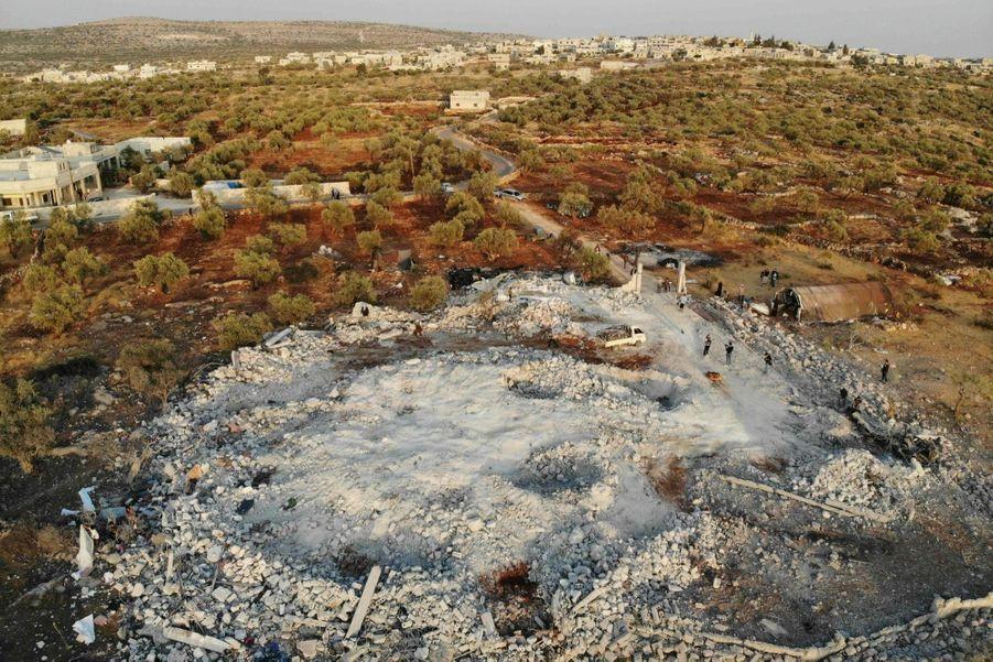 Baricha, le 27 octobre. Les restes de la villa où s'était réfugié Al-Baghdadi. Elle a été rasée par un bombardement après le raid des forces spéciales.