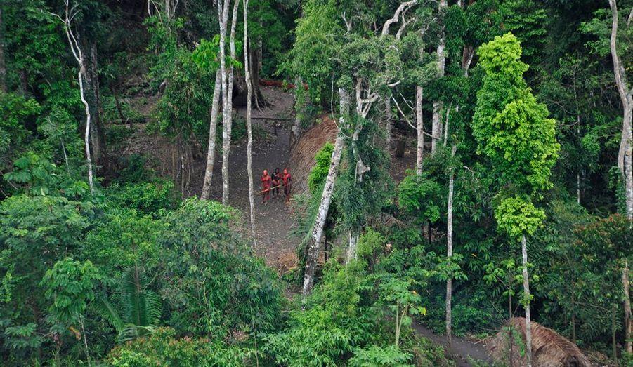 Des paniers pleins de papayes et de manioc sont visibles à leurs côtés