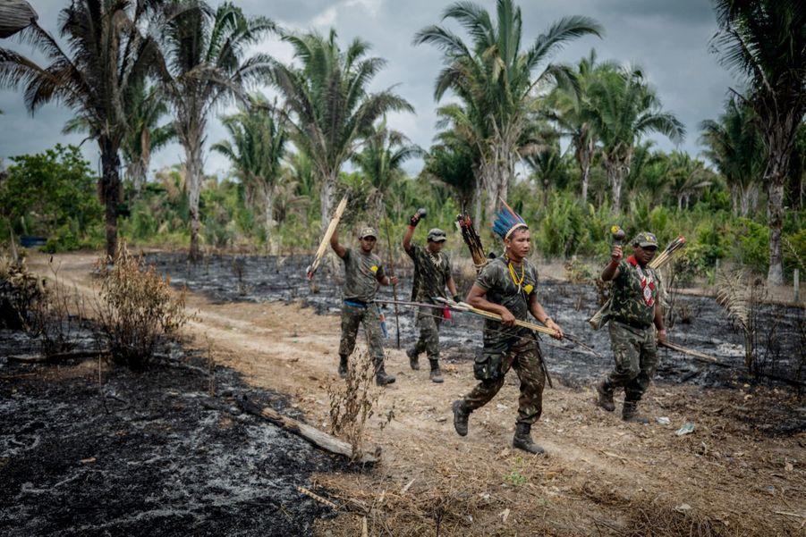Tenues de camouflage et parures tribales, ces Gardiens, de la tribu des Guajajara, rentrent de patrouille. Leur mission : repérer des braconniers et les livrer à la police. Dans la réserve de Caru (Etat du Maranhao, nord-est du Brésil).