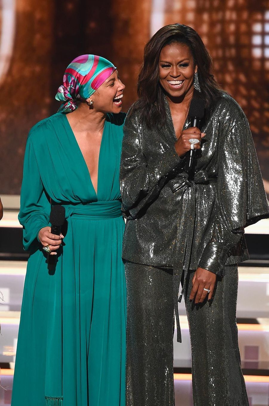 Alicia Keys et Michelle Obama aux Grammy Awards, le 10 février 2019.