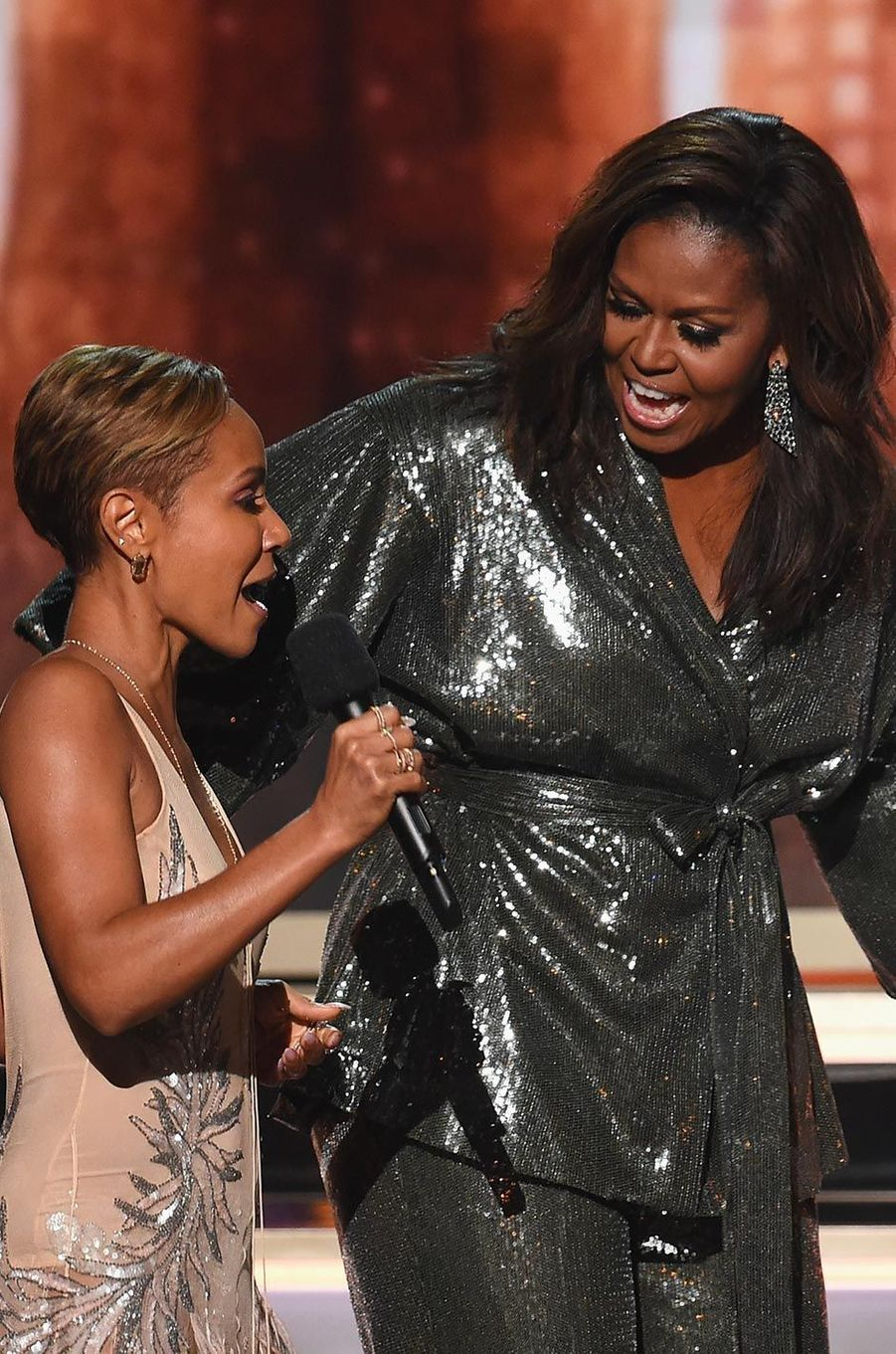 Jada Pinkett Smith et Michelle Obama aux Grammy Awards, le 10 février 2019.